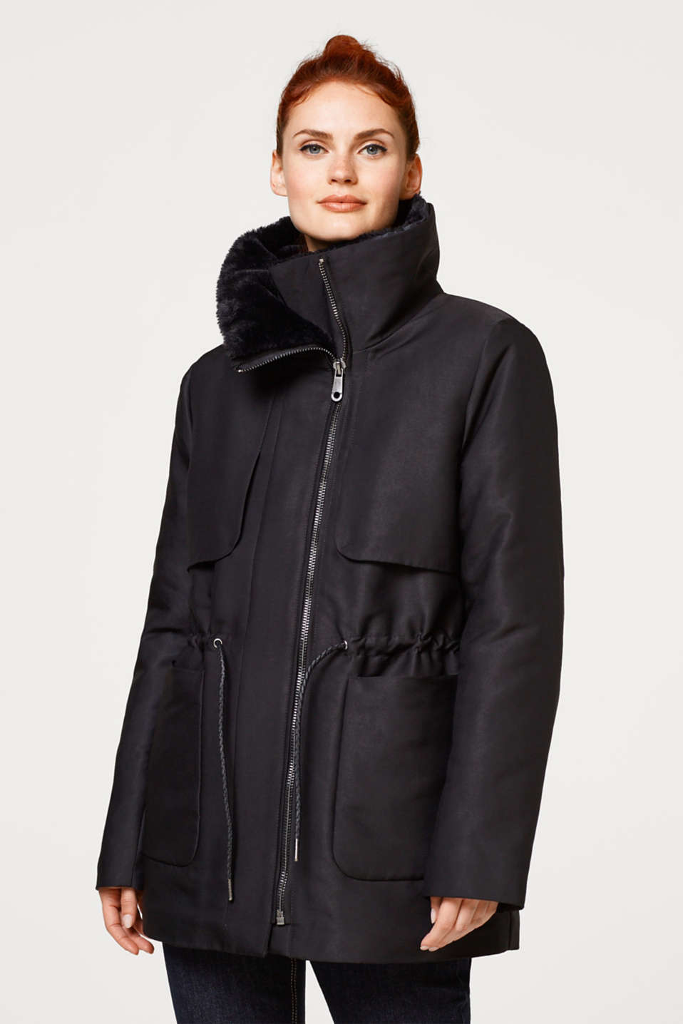 Esprit - Shimmering parka with elegant fake fur collar