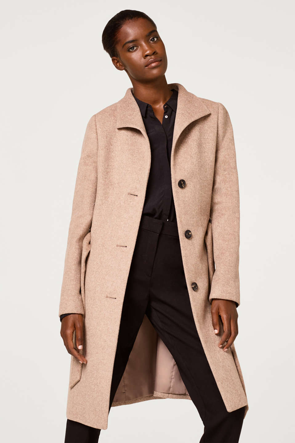 Esprit - Blended wool: coat with a spade collar