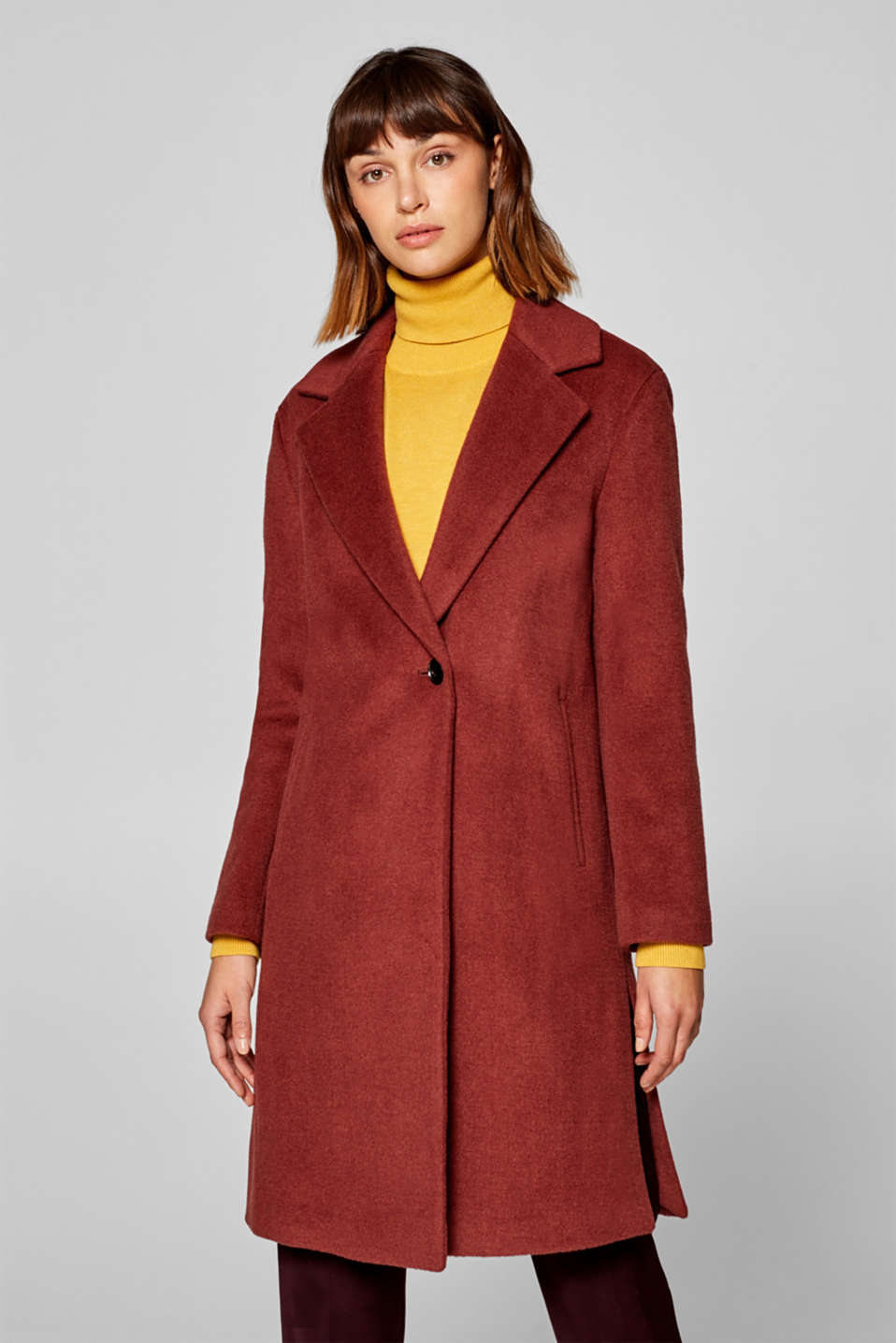 Esprit - Made of blended wool: coat with a lapel collar