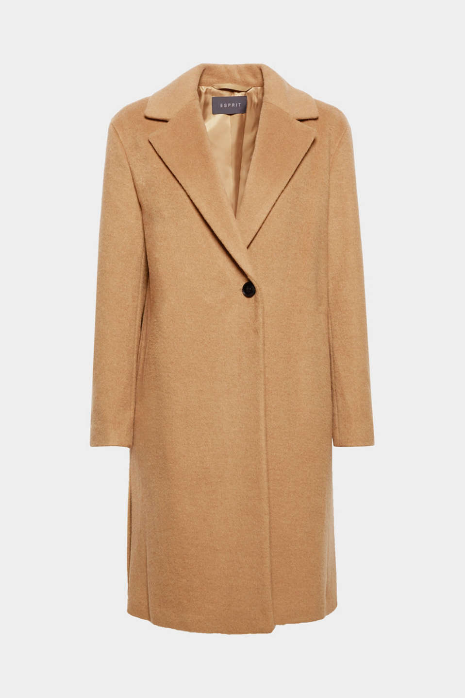 We love casual coats that wrap us up warmly: this one-button example is made of premium blended wool and features a wide lapel collar plus side slits!
