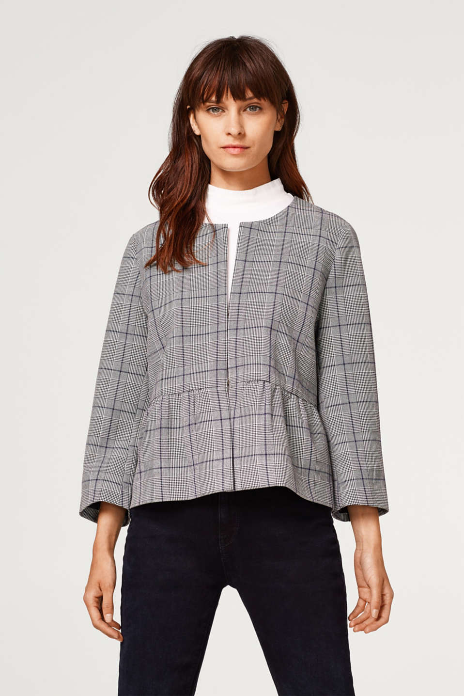 Esprit - Stretch blazer with glencheck pattern and peplum