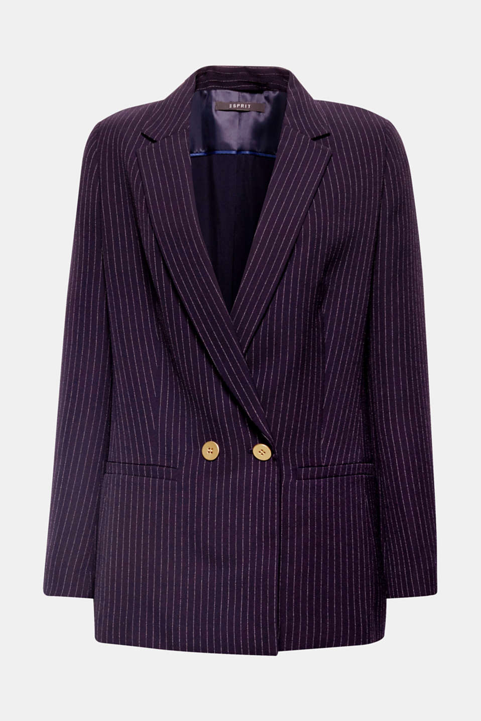This loose-fitting pinstripe blazer in crease-resistant fabric with a modern button solution is perfect for work, business or travel.
