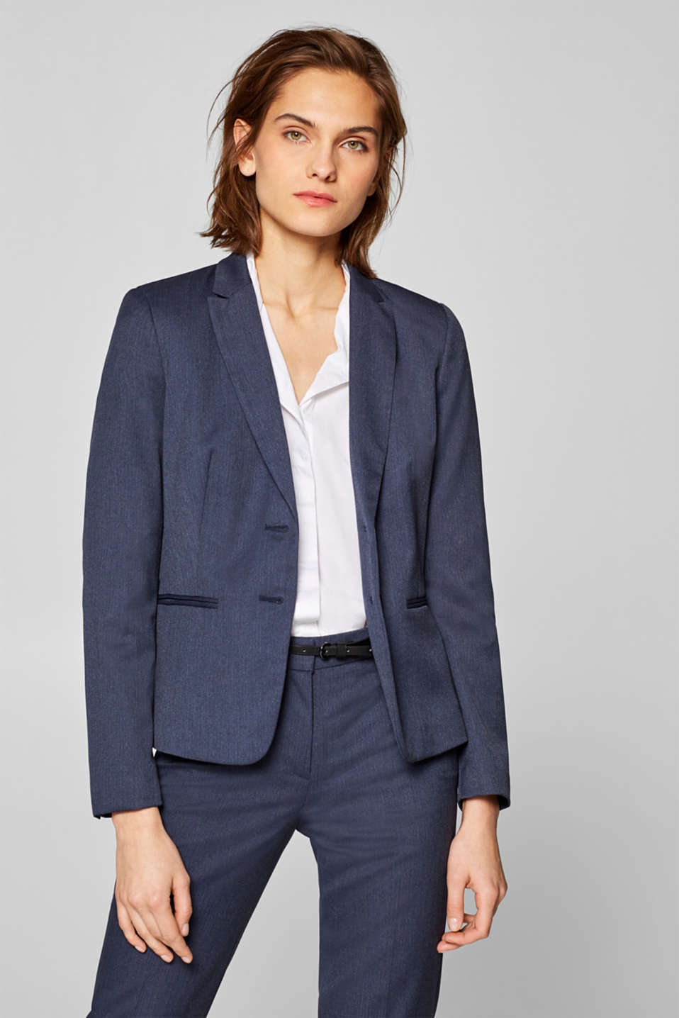 Esprit - BUSINESS MIX + MATCH blazer met visgraatmotief