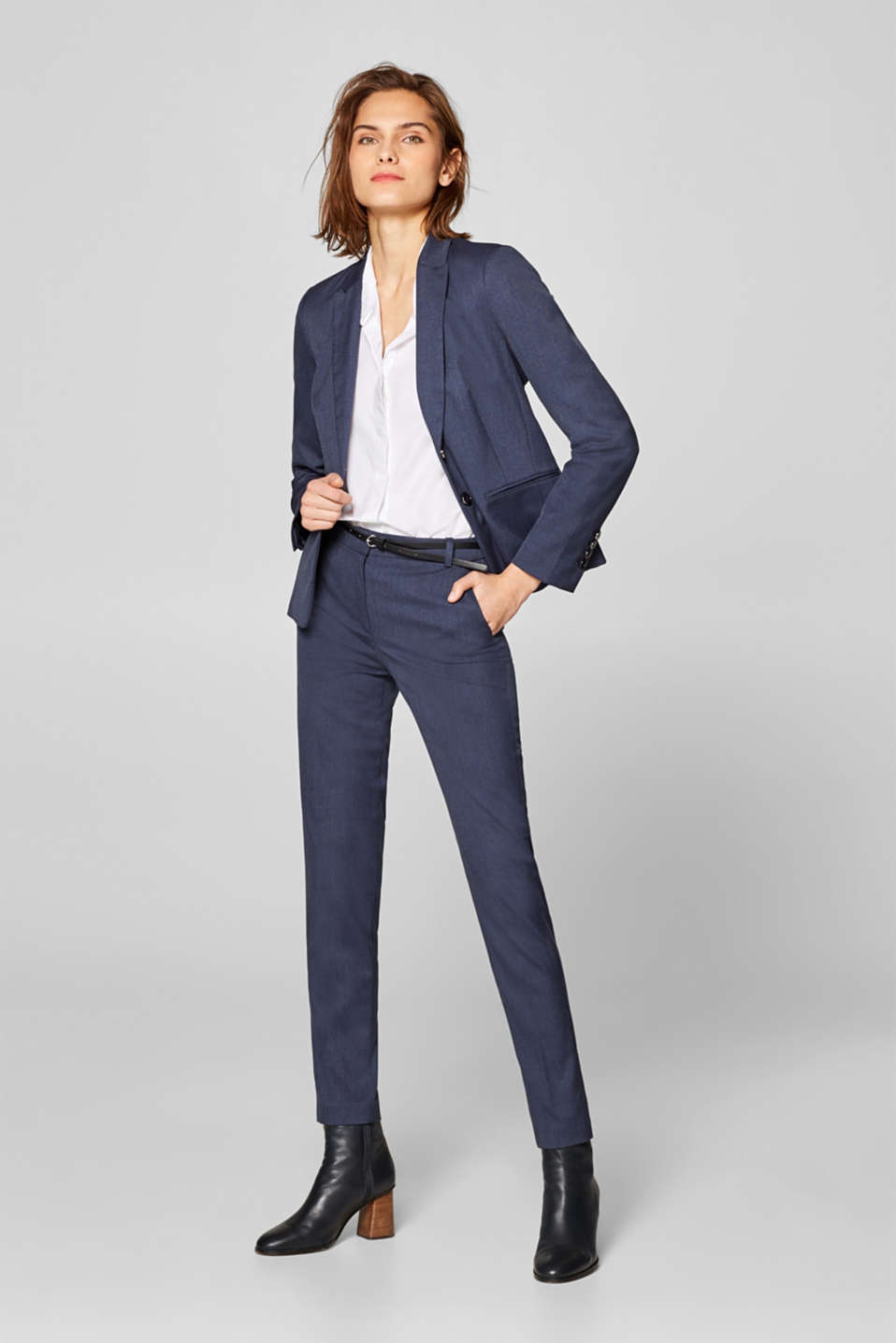 BUSINESS MIX + MATCH blazer met visgraatmotief