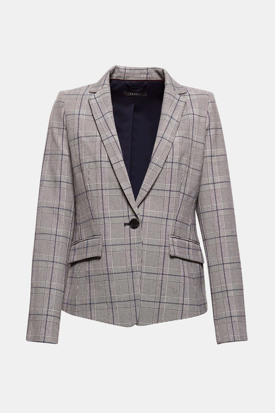 Can be worn with the matching trousers or on its own: the trendy Prince of Wales check and subtle striped details give this blazer its high fashion look.