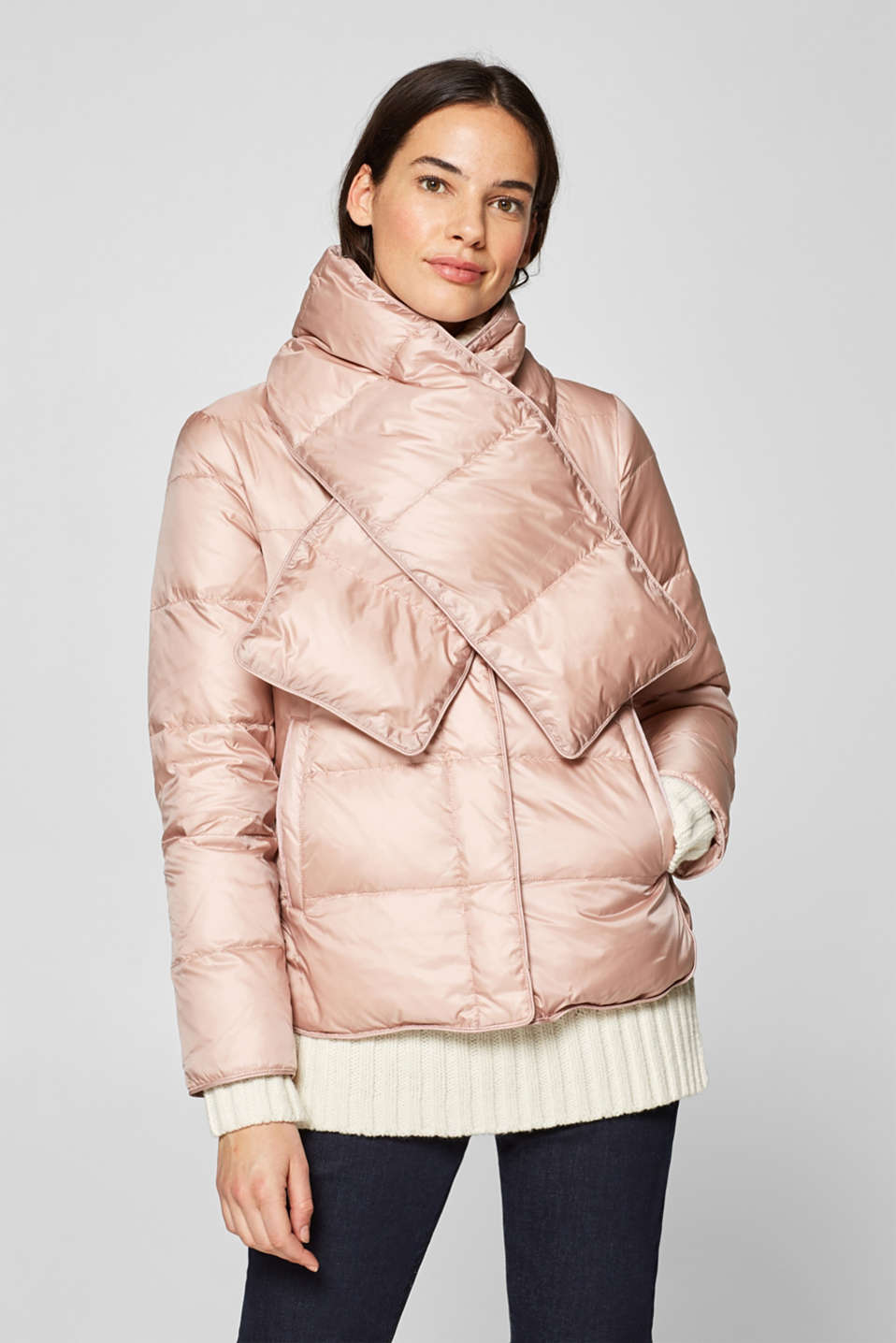 Esprit - Down jacket with a detachable quilted scarf