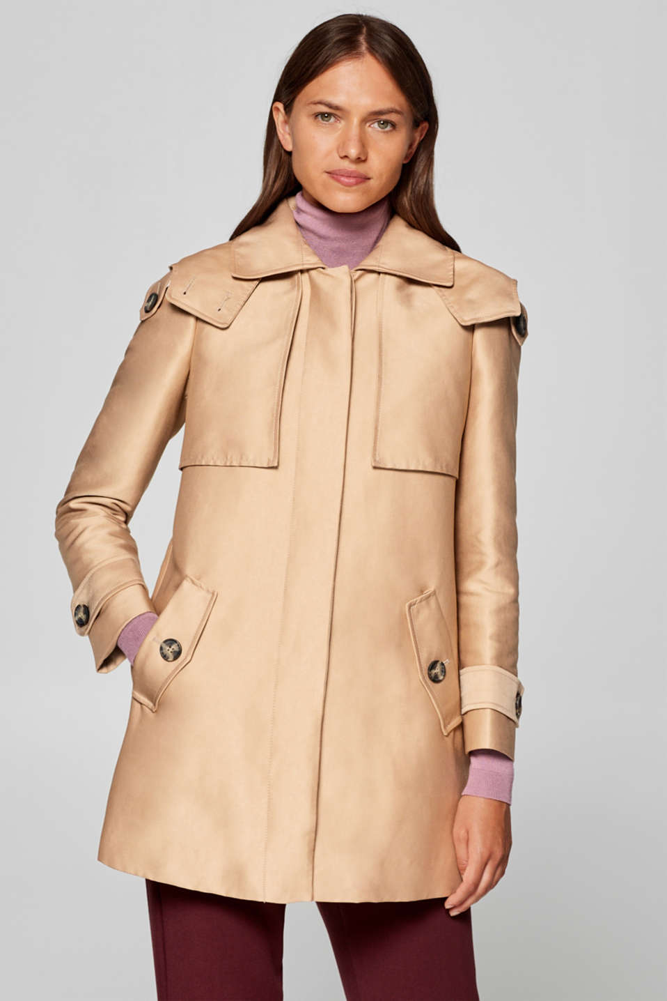 Esprit - Coat in a trench coat style with a hood