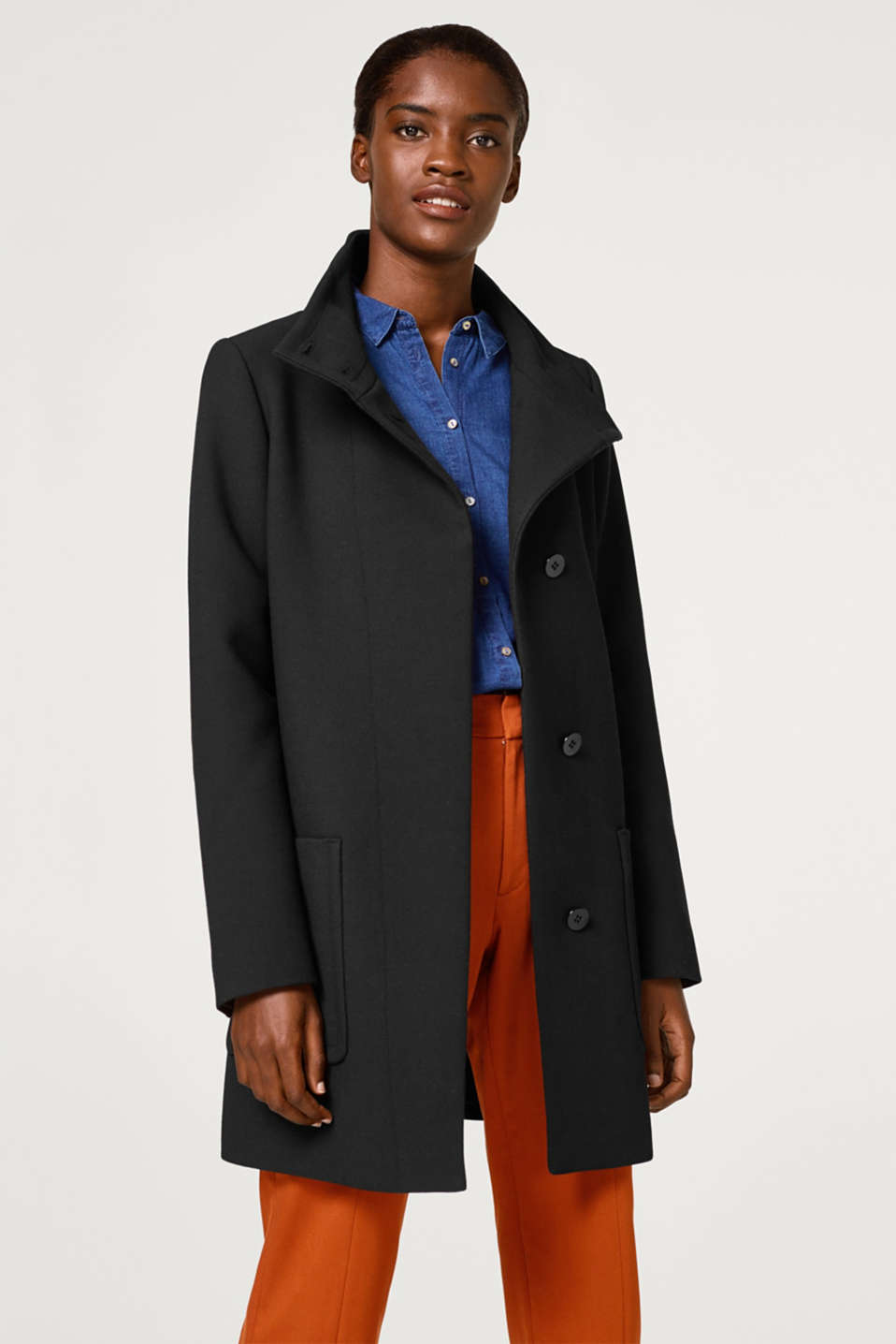 Esprit - Textured coat with a band collar