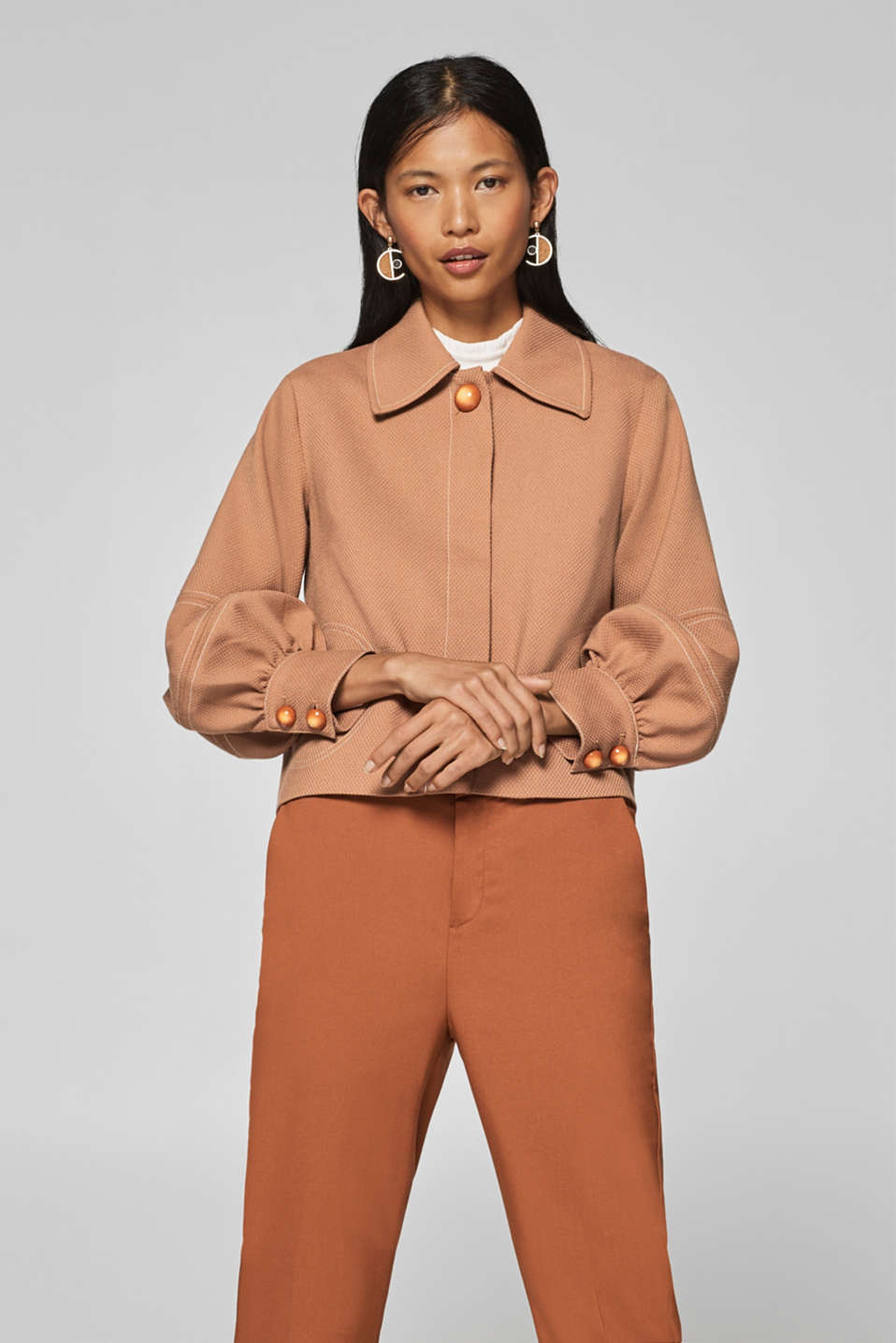 Esprit - Textured jacket with balloon sleeves