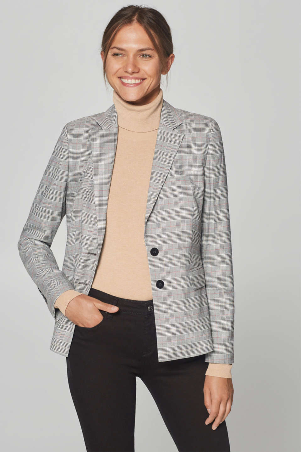 Esprit - Blazer stretch à carreaux Prince de Galles