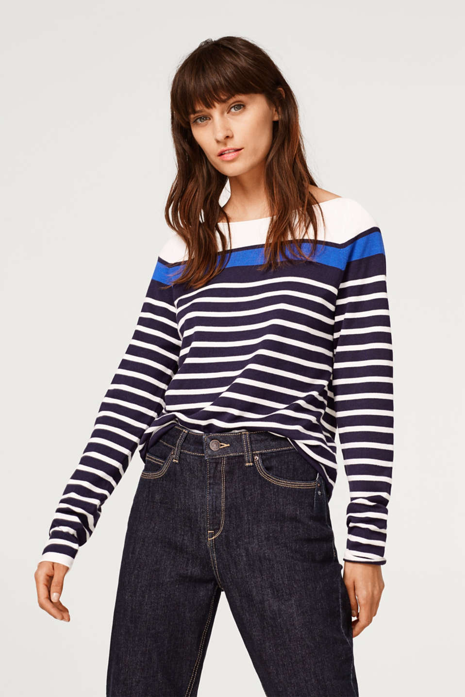Esprit - Stretchy jumper with textured stripes