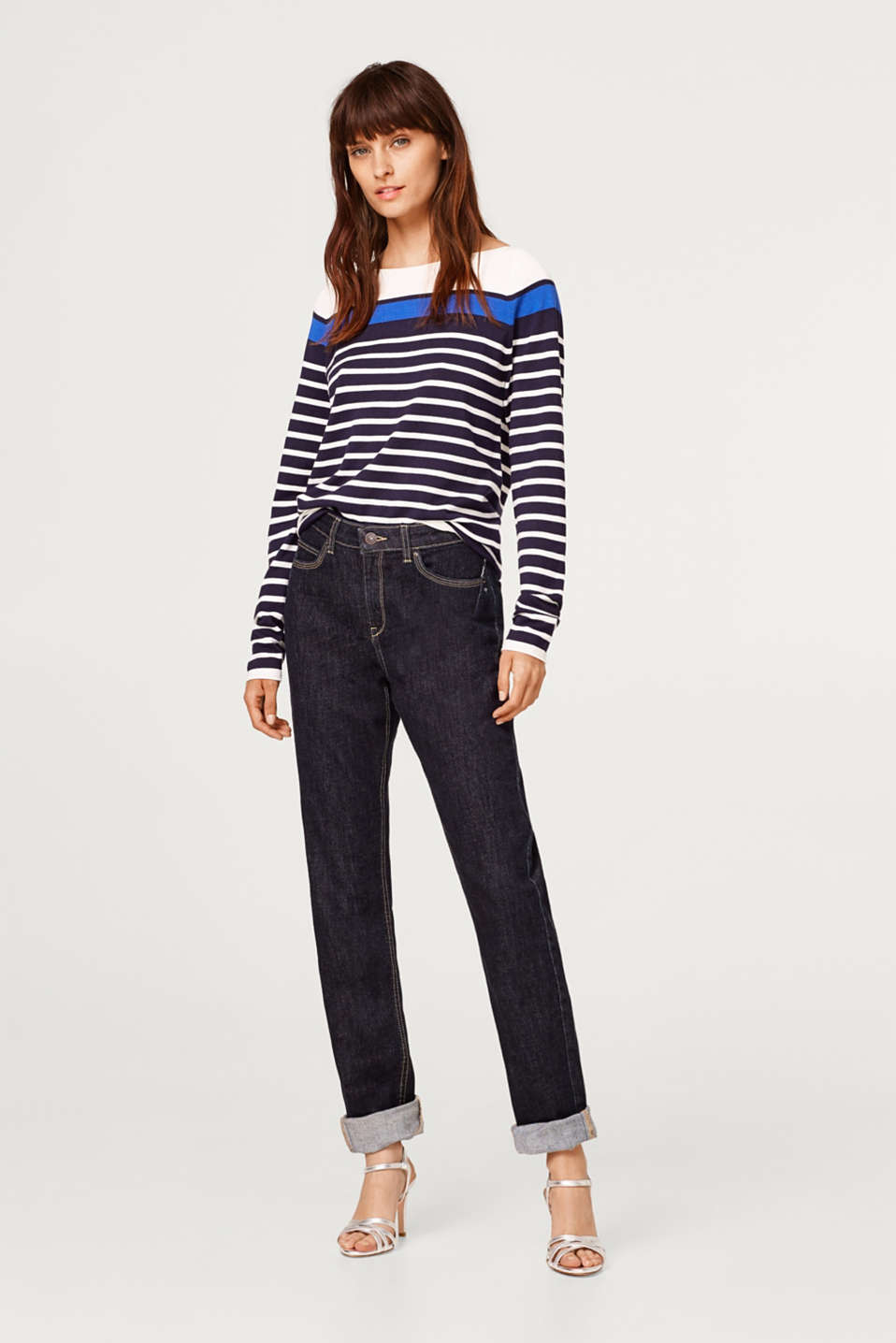 Stretchy jumper with textured stripes