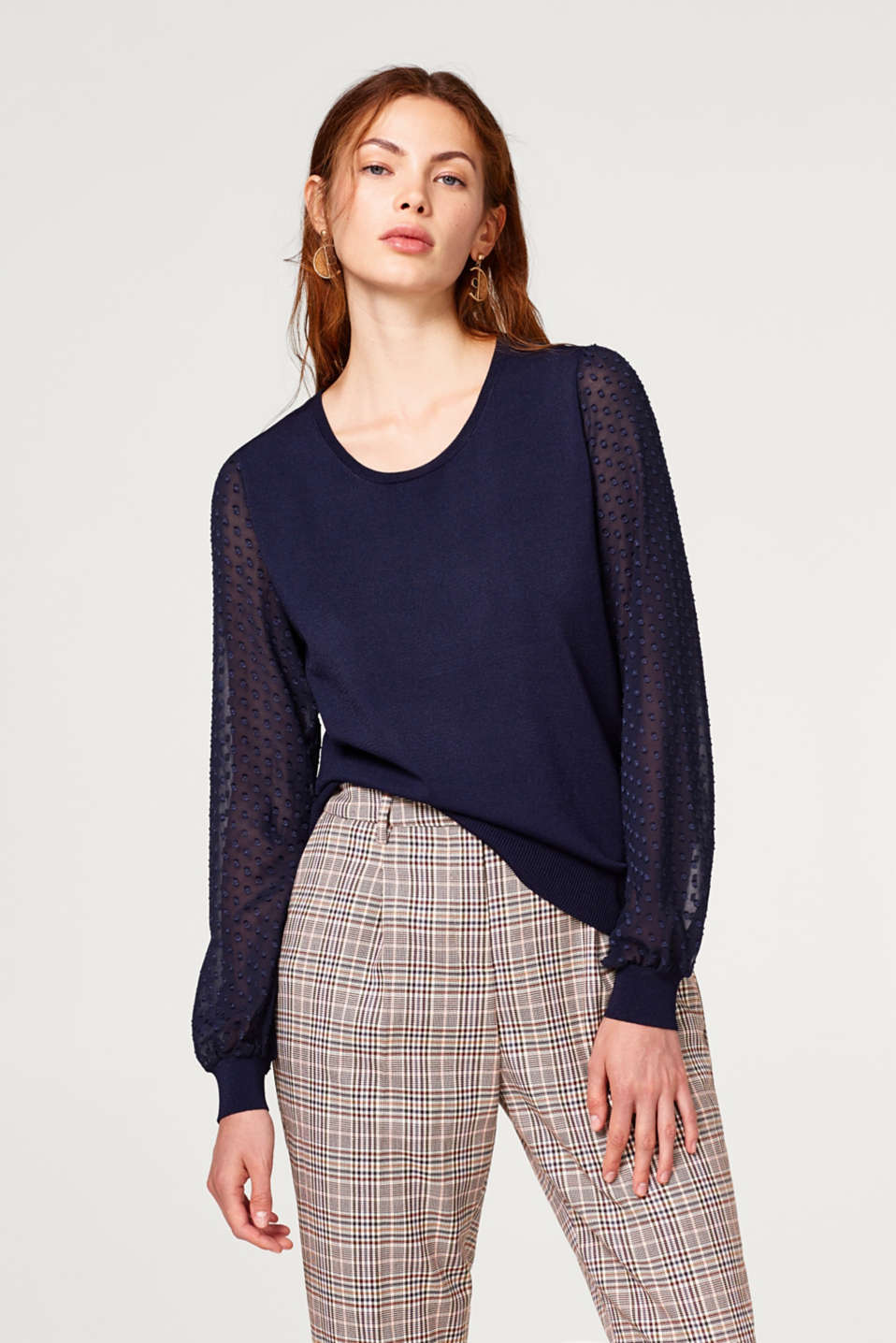 Esprit - Fine-knit jumper with chiffon sleeves