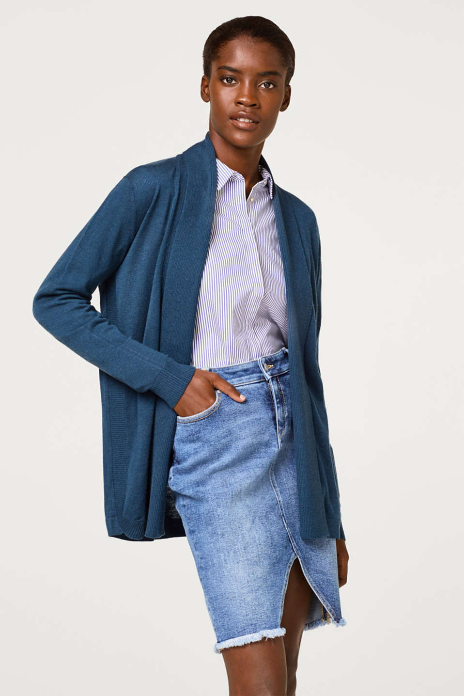 Esprit - With wool: open cardigan with a shawl collar