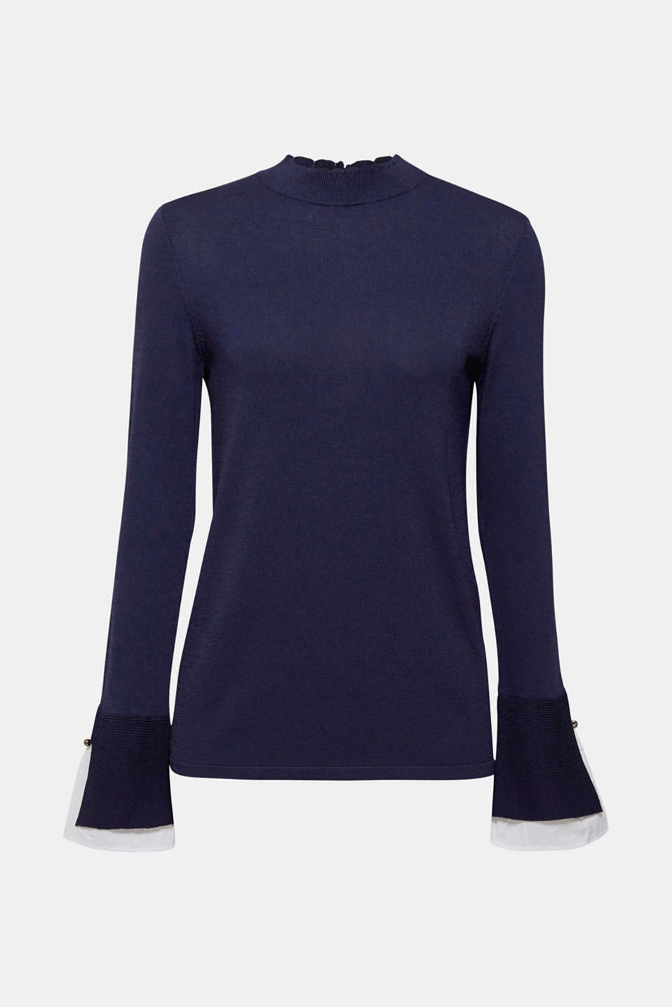 Whole new knit: Fine crêpe fabric with a cool texture, stand-up collar with a beautiful edge and layer-look cuffs give this jumper its modern look!