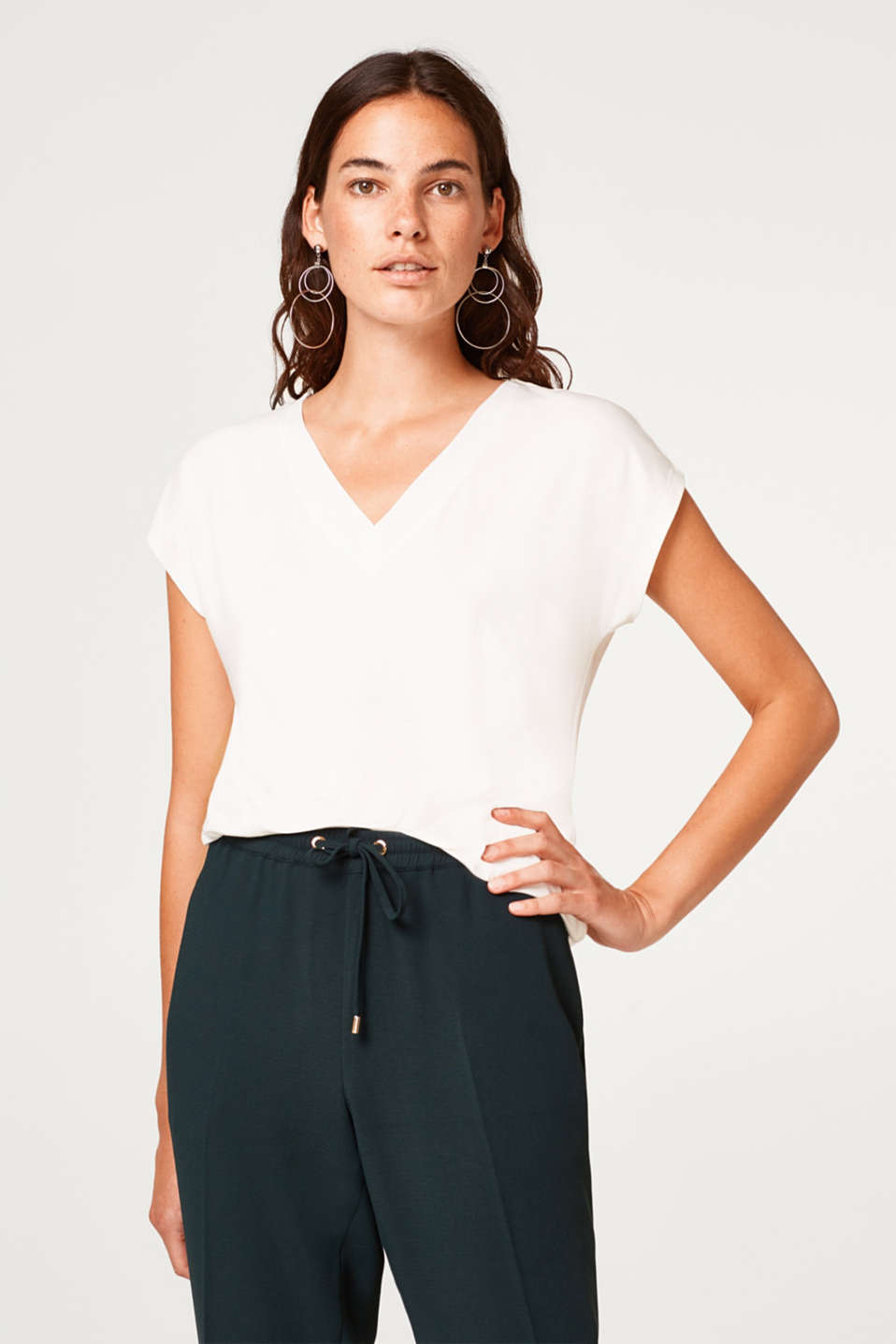 Esprit - Stretch T-shirt with a chiffon-trimmed neckline