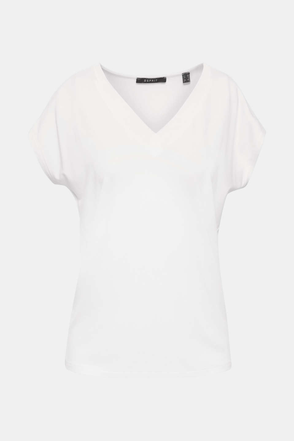 The wide chiffon trims at the V-neck give this softly draped, stretch T-shirt a shot of elegance!