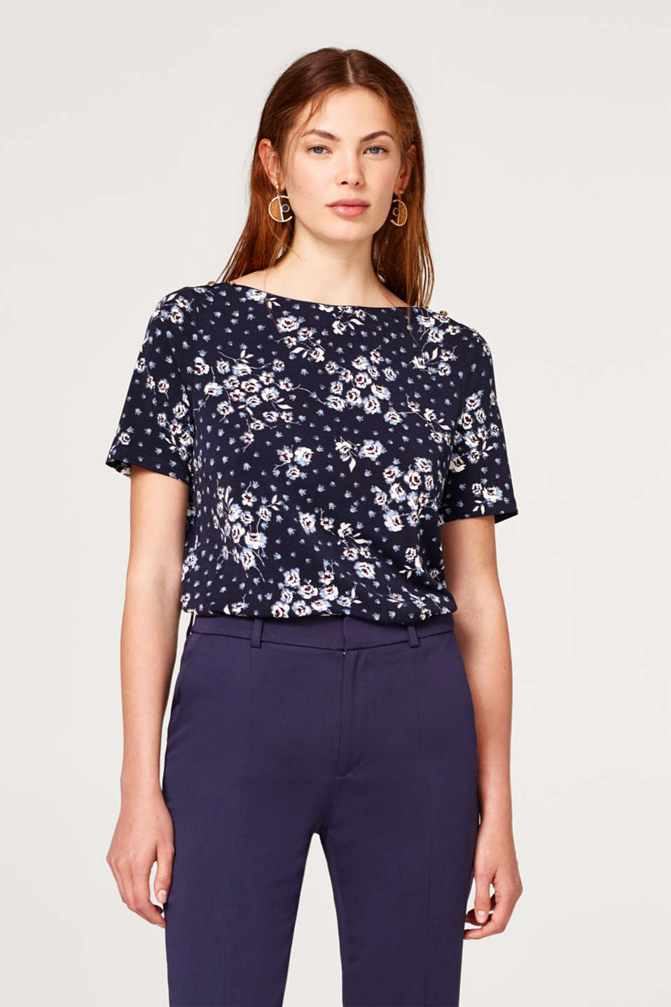 Esprit - Stretch-shirt med blomsterprint