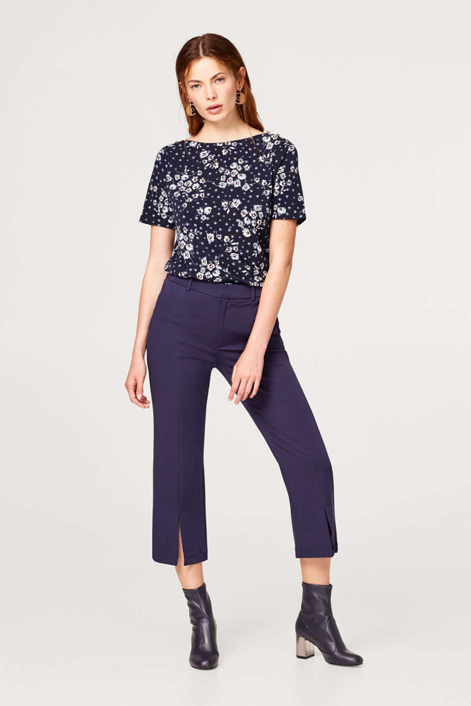 Stretch-shirt med blomsterprint