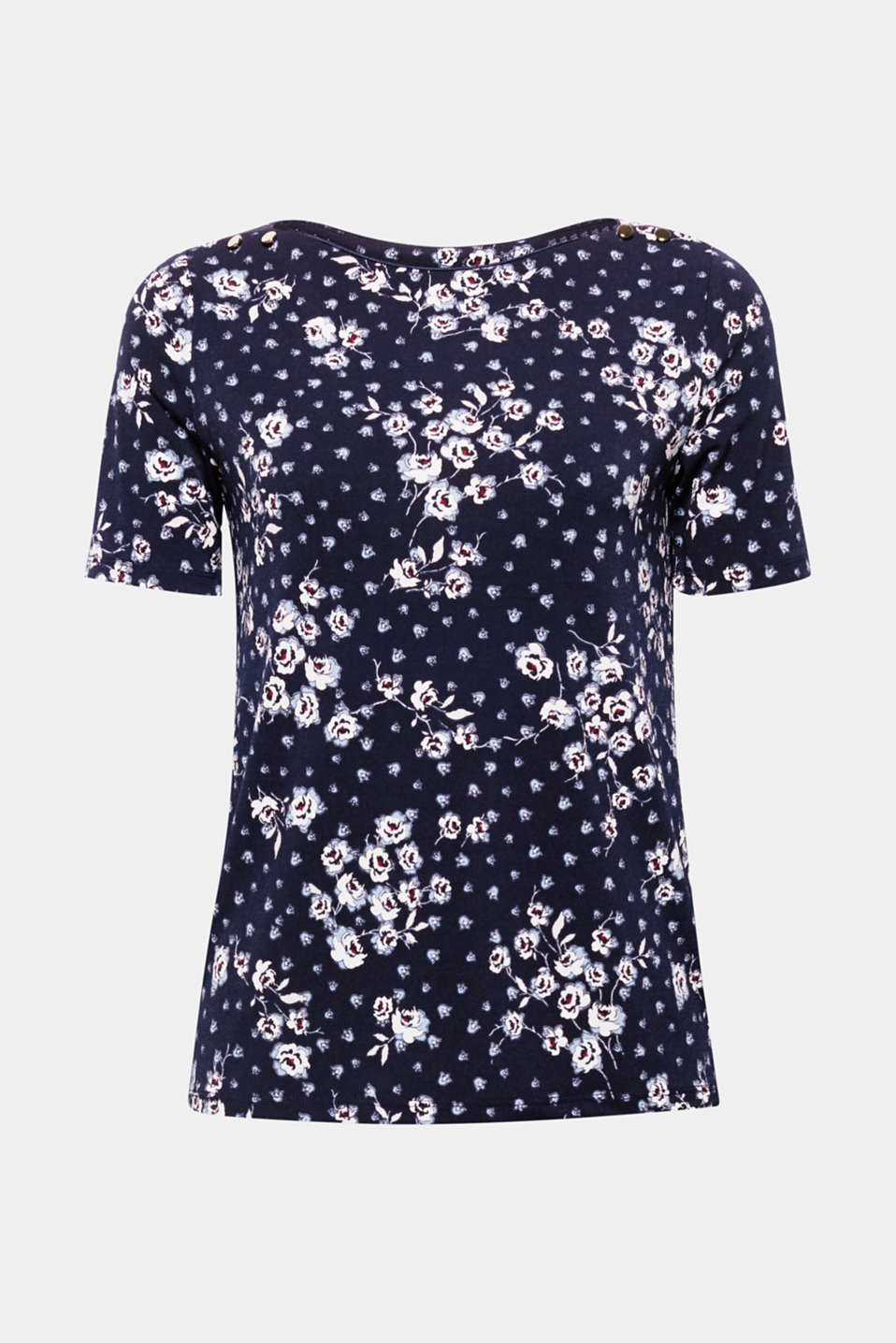 Drapes beautifully and adds floral accents! The fresh floral print adds eye-catching style to this loosely cut top in stretch jersey!