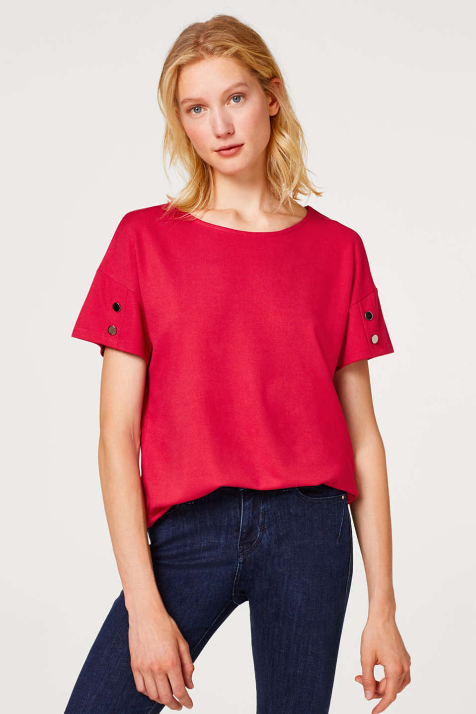 Esprit - Stretch top with sleeve buttons