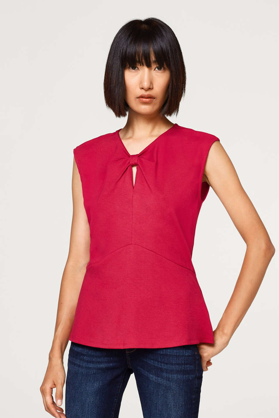 Esprit - Jersey top with a knot detail