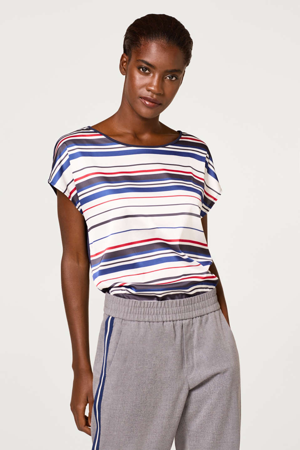 Esprit - Blouse top with multi-coloured horizontal stripes