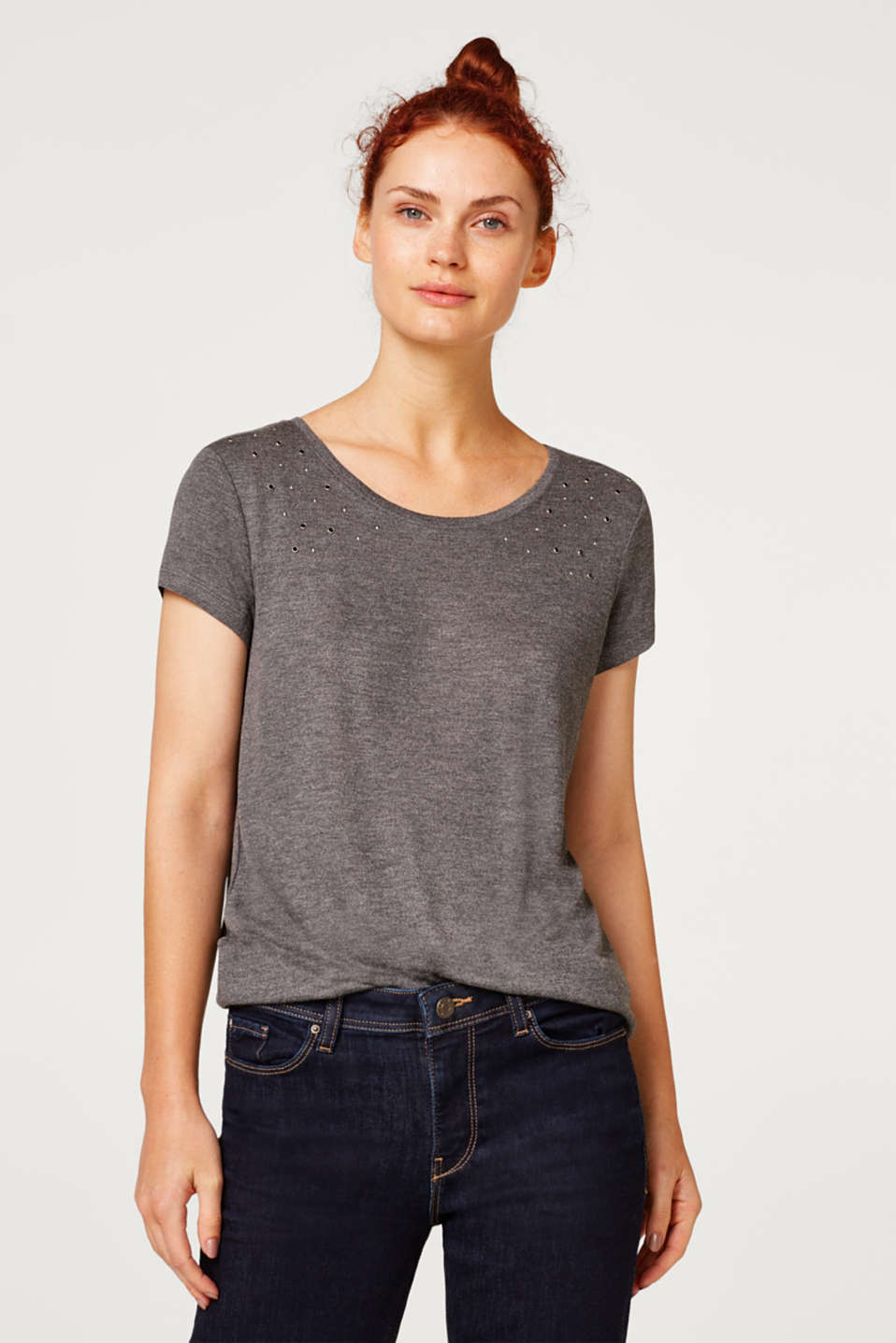 Esprit - Jersey T-shirt with stud embellishments