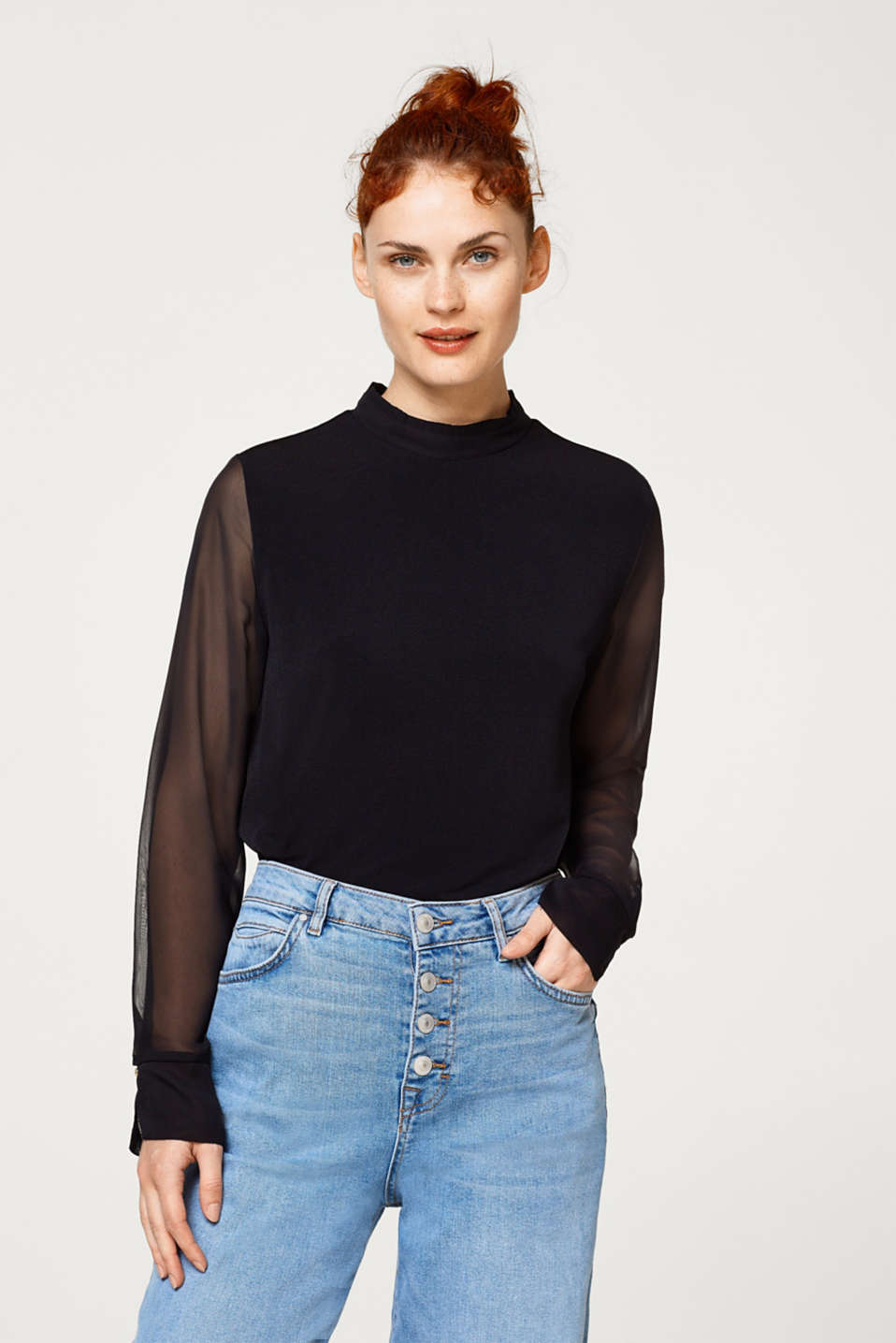 Esprit - Blouse style top with chiffon sleeves
