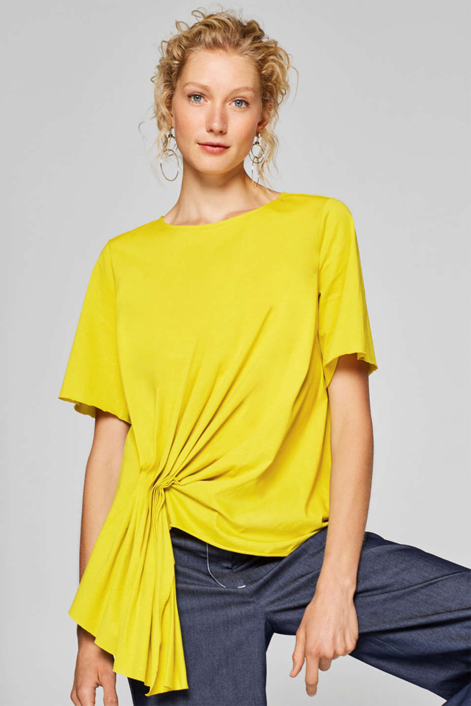 Esprit - Open-edged top with a drape, 100% cotton