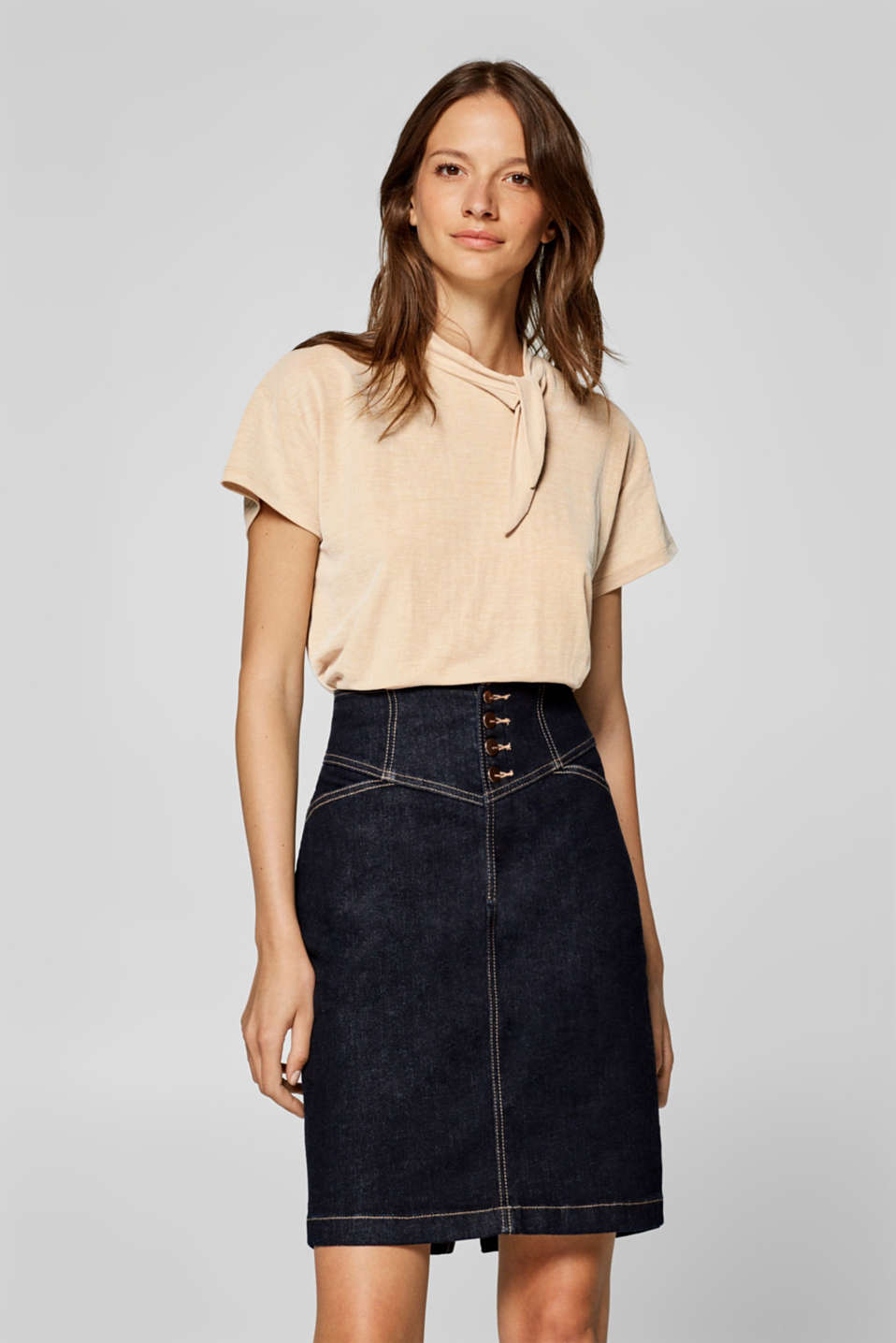 Esprit - Top with a band collar and a bow