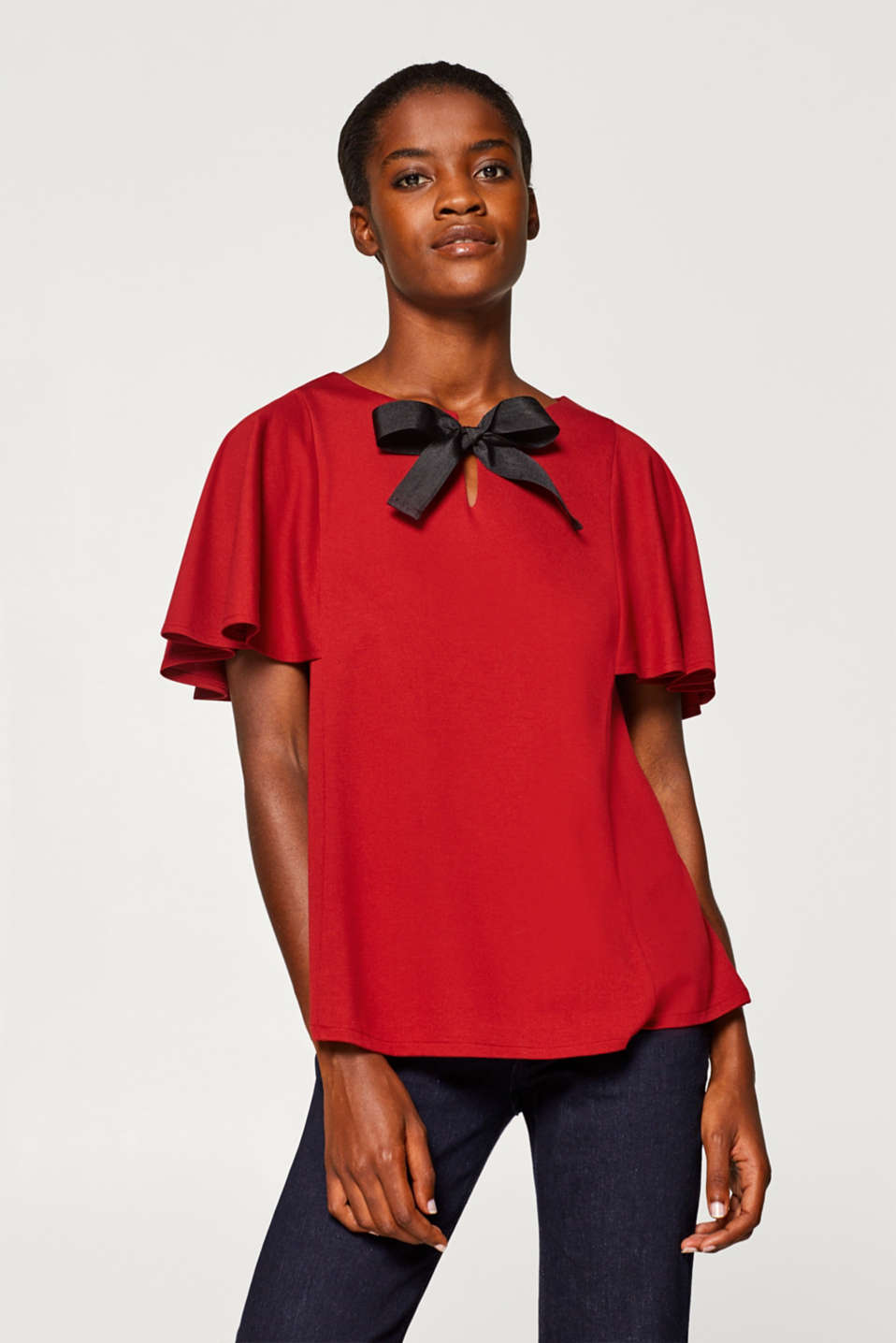 Esprit - Top with cap sleeves and a bow