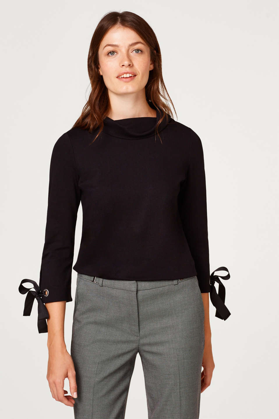 Esprit - Top with a polo neck and bow details