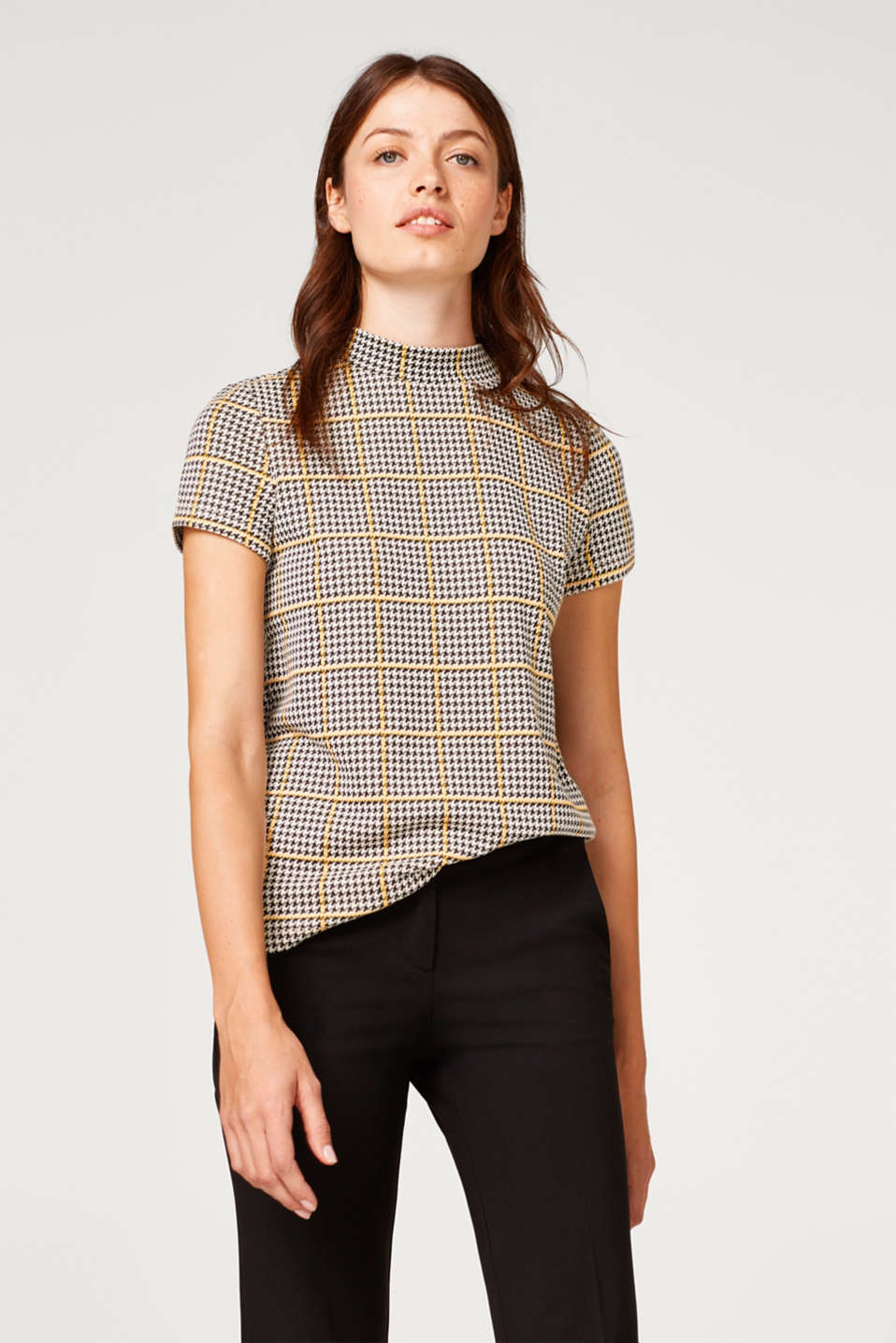 Esprit - Turtleneck top with a houndstooth check
