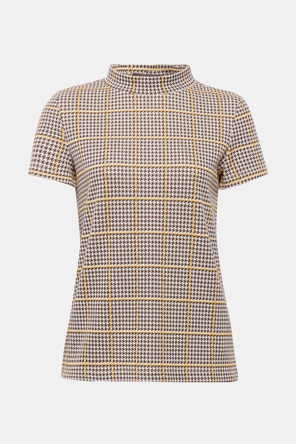 This soft jersey T-shirt is an everyday favourite, while the interplay of the fashionable stand-up collar and a classic houndstooth pattern creates a certain je ne sais quois.