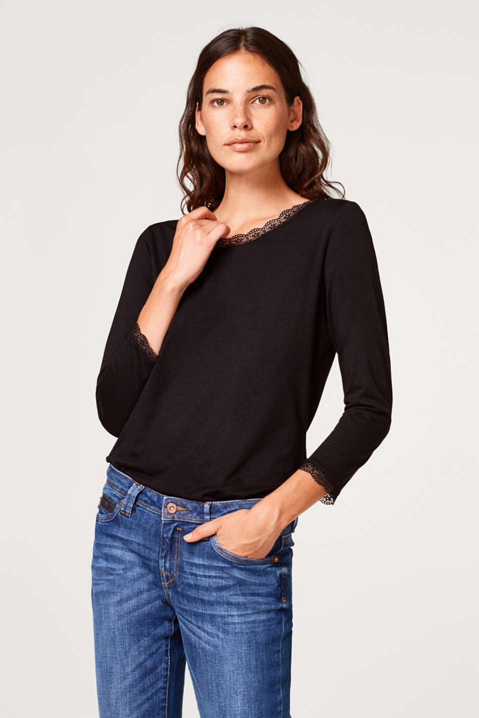 Esprit - Lace-trimmed stretch T-shirt