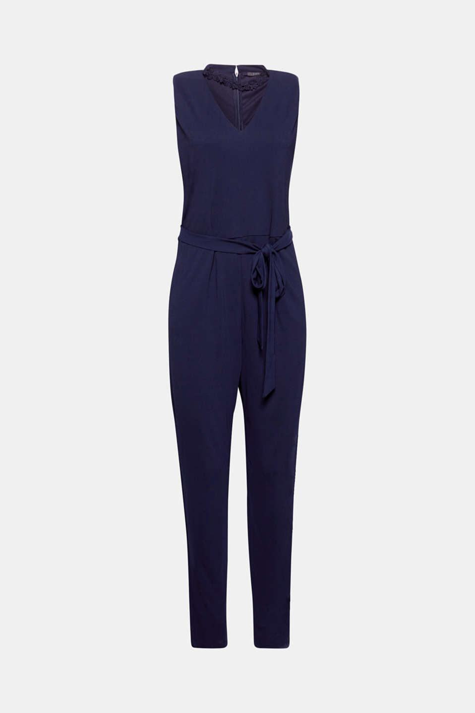 This jersey jumpsuit with decorative lace on the neckline and a wide tie-around belt is perfect for special occasions and still super comfortable!