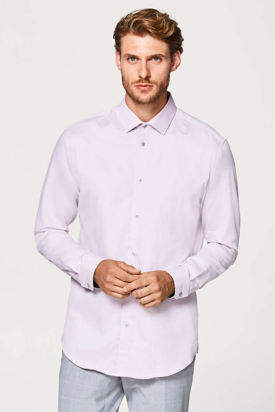 Esprit - Finely textured shirt, 100% cotton