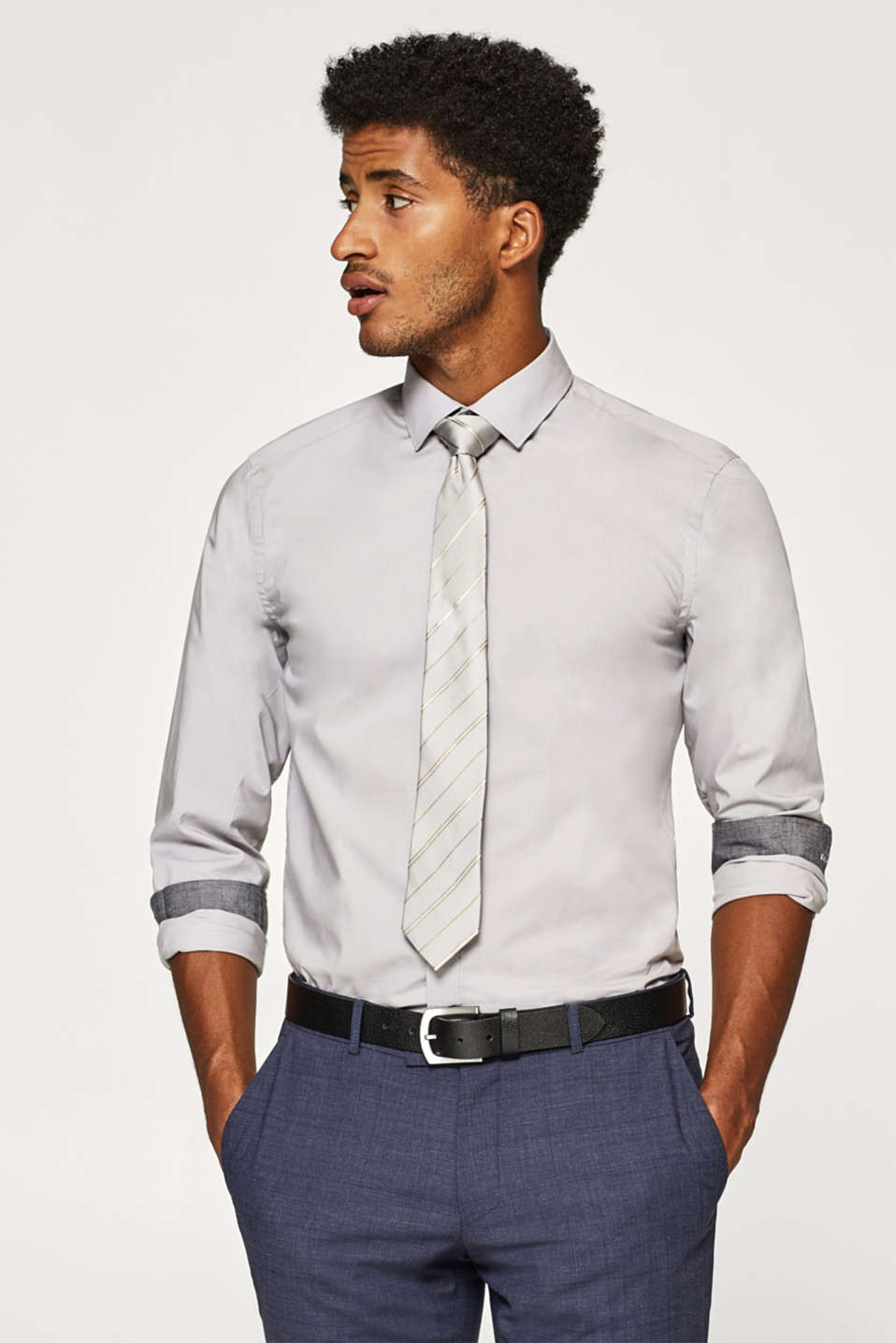 Esprit - Shirt with a Kent collar in 100% cotton