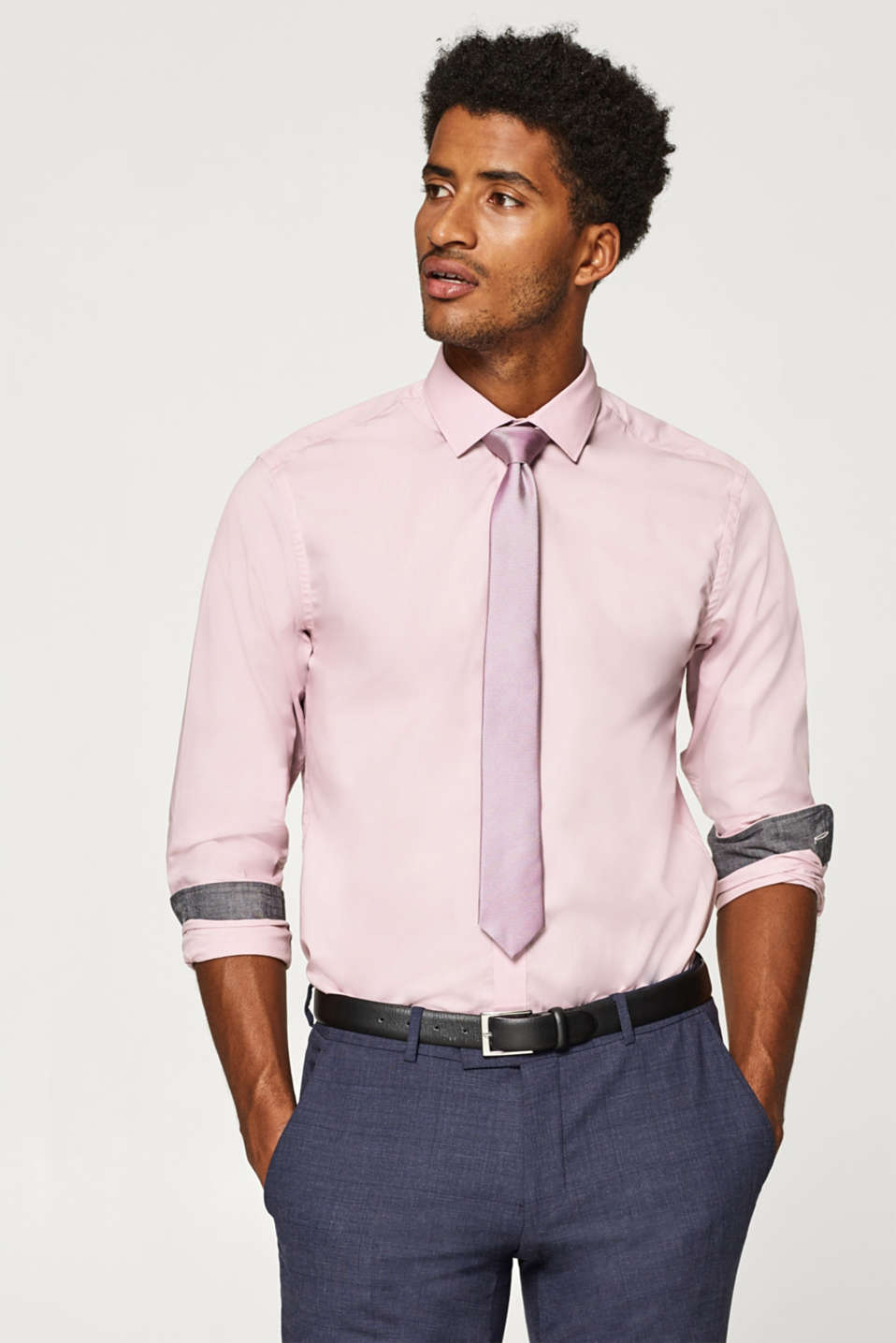 Esprit - Easy-iron shirt with a Kent collar, 100% cotton