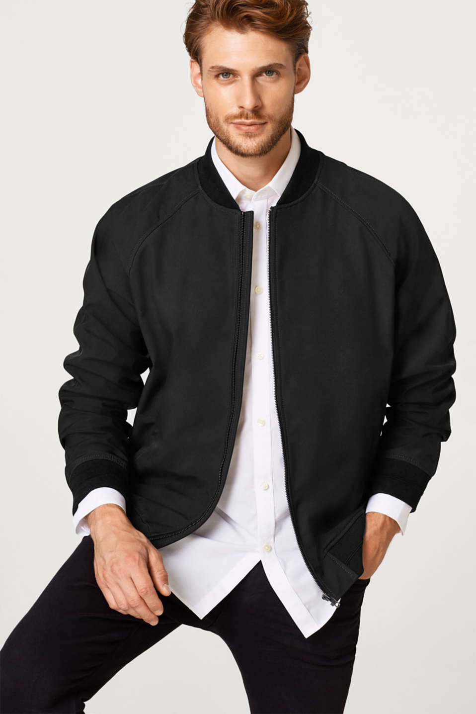 Esprit - Bomber jacket with a matte coating