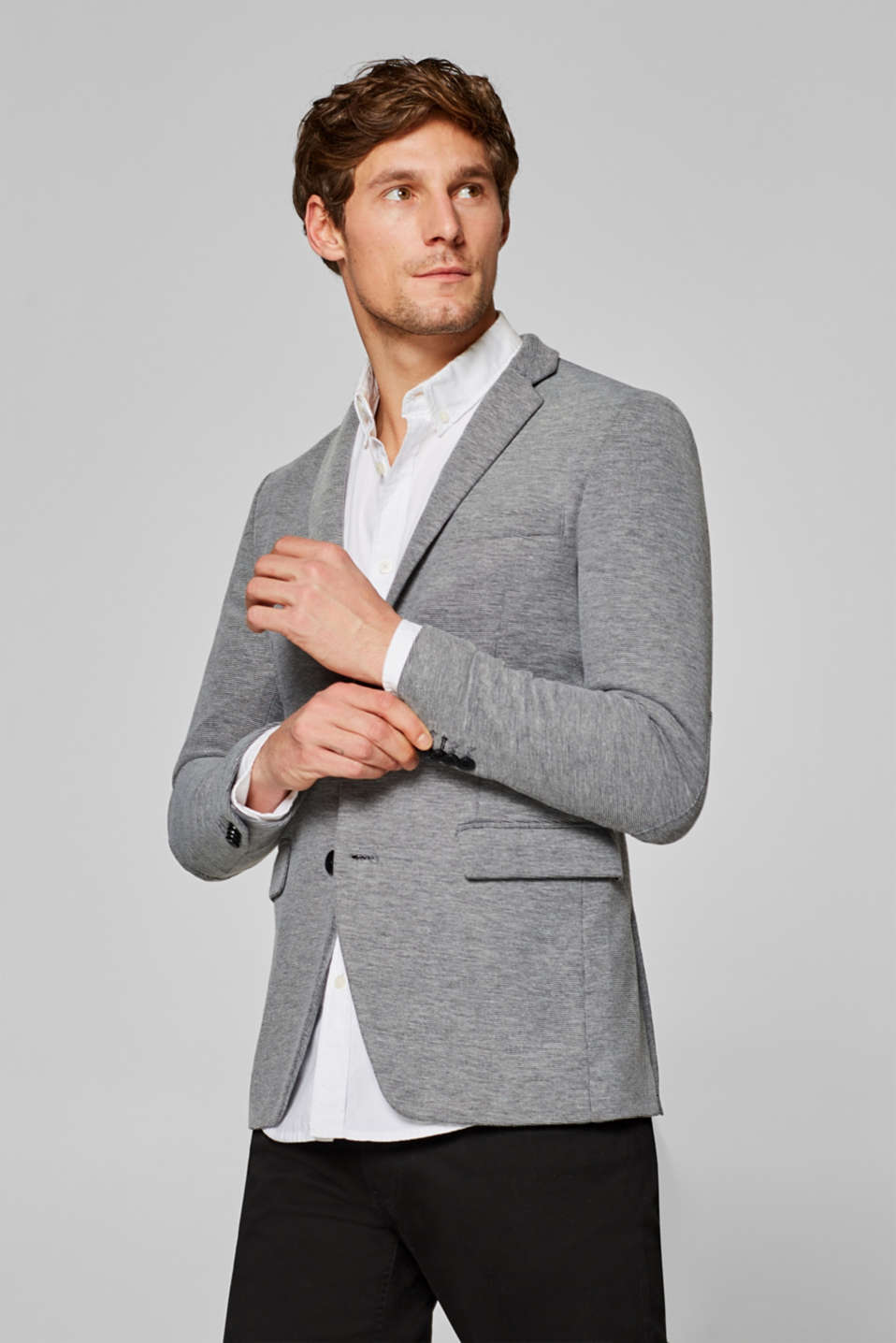 Esprit - Mens blazer in black/white look, made of jersey