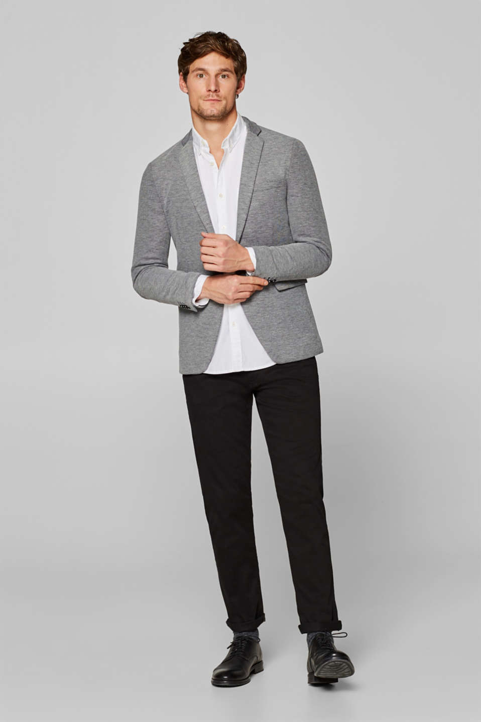 Mens blazer in black/white look, made of jersey