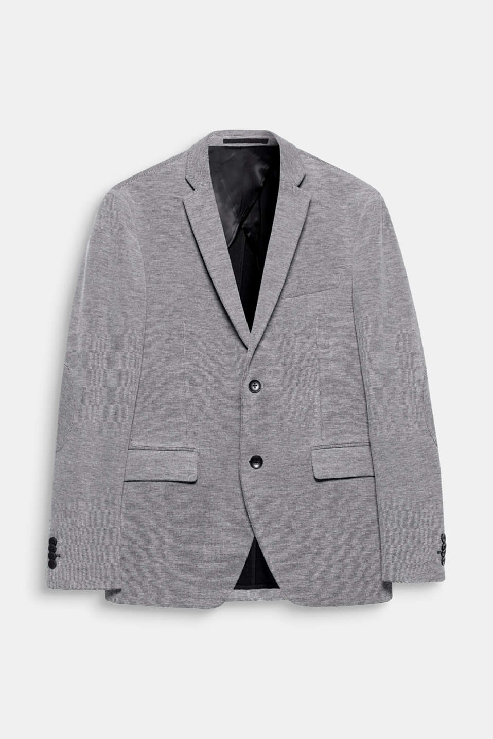 Textured jersey in a trendy black and white look gives this sporty mens blazer an exciting texture.