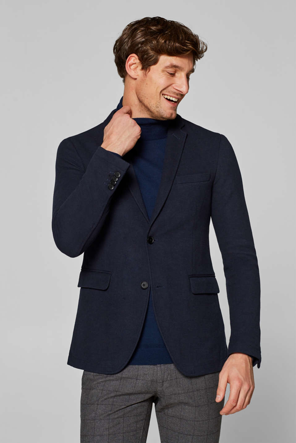 Esprit - Piqué tailored jacket with a lapel collar