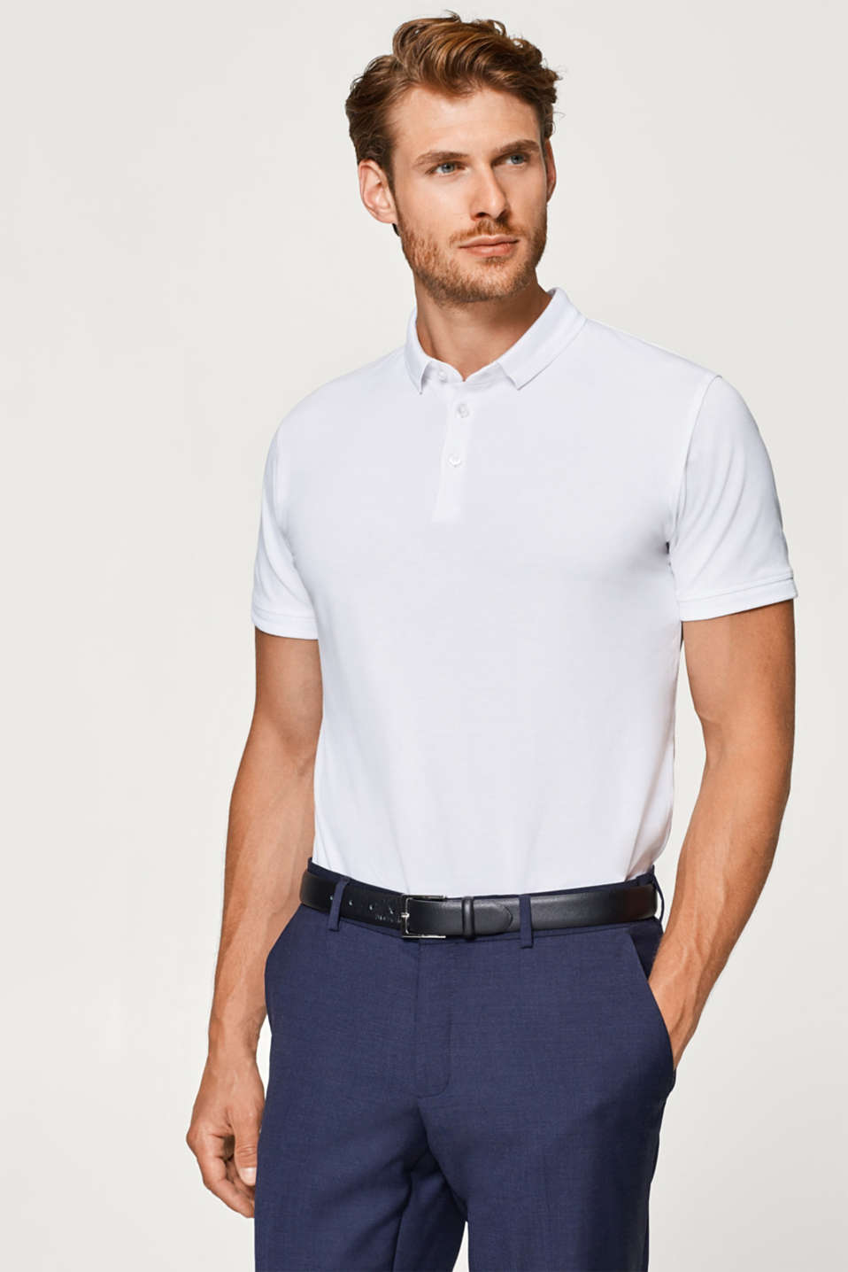 Esprit - Piqué polo shirt with a tonal intarsia pattern