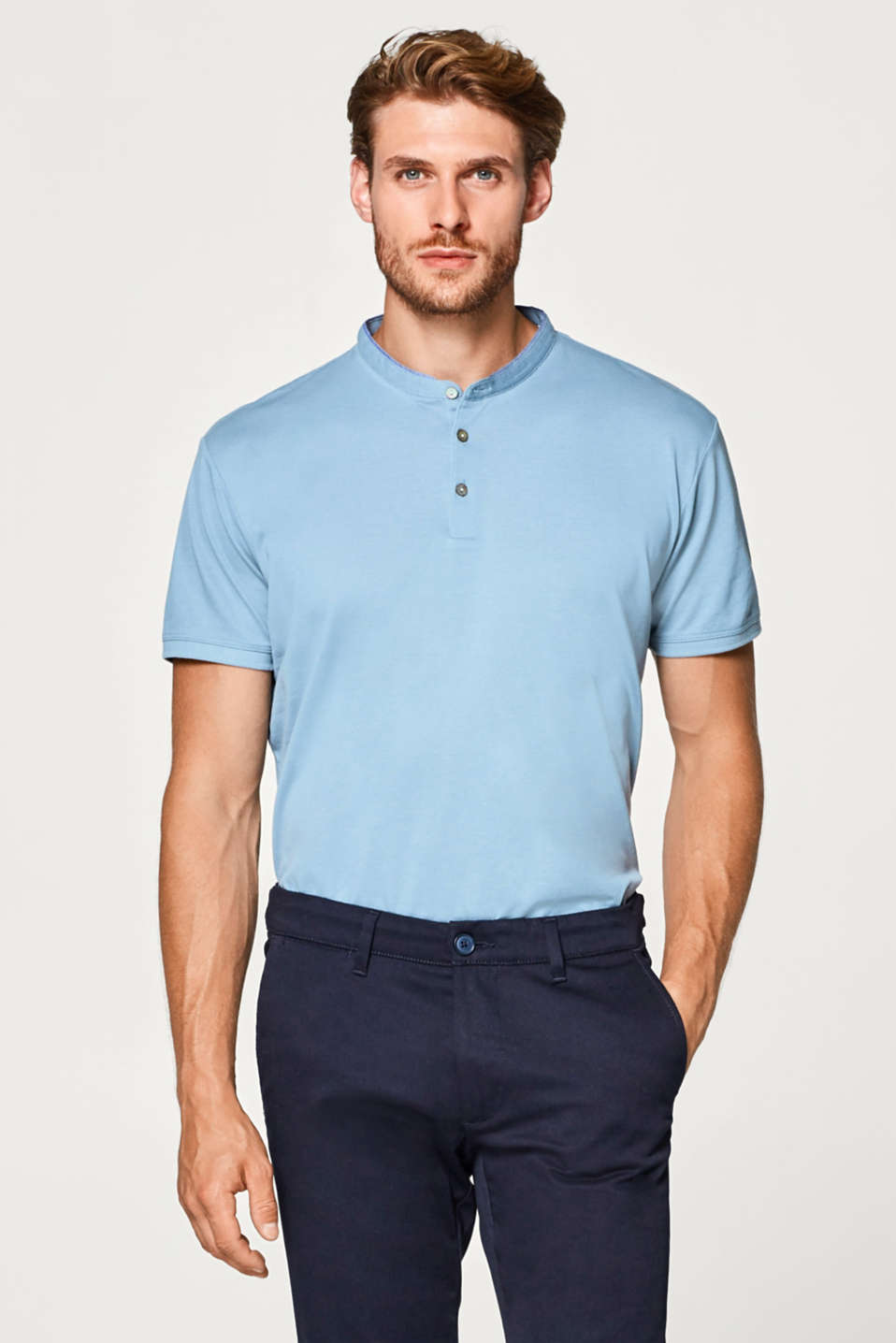 Esprit - Straight polo shirt with a stand-up collar, 100% cotton