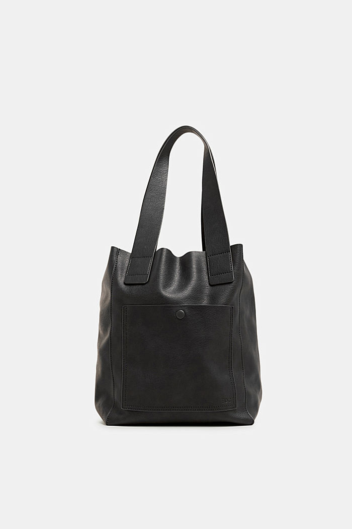 Faux leather tote bag, BLACK, detail image number 0