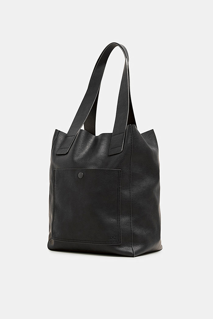 Faux leather tote bag, BLACK, detail image number 1
