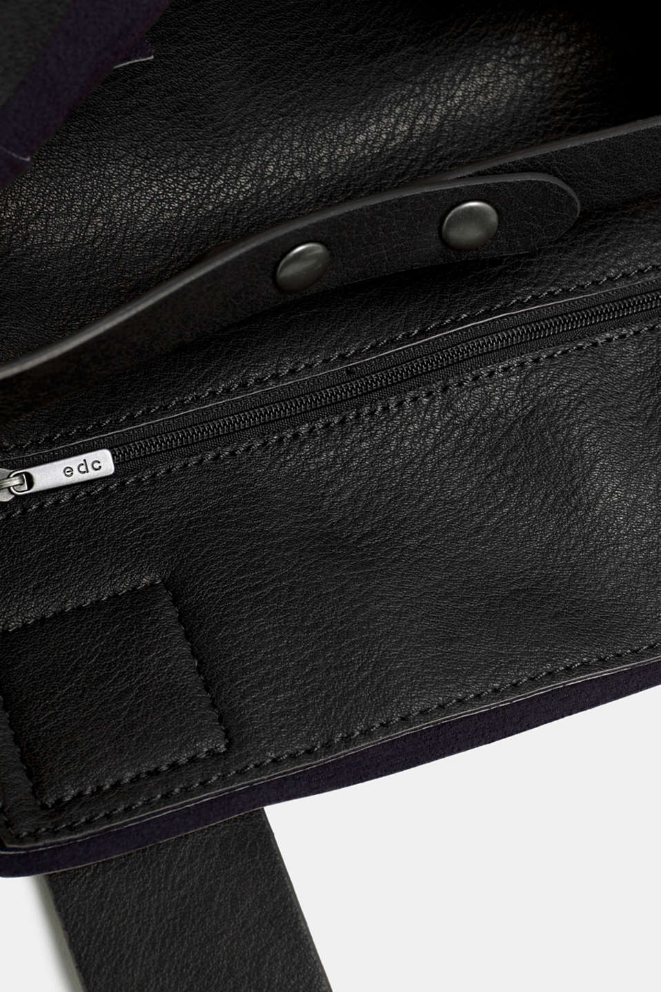 Faux leather tote bag, BLACK, detail image number 4
